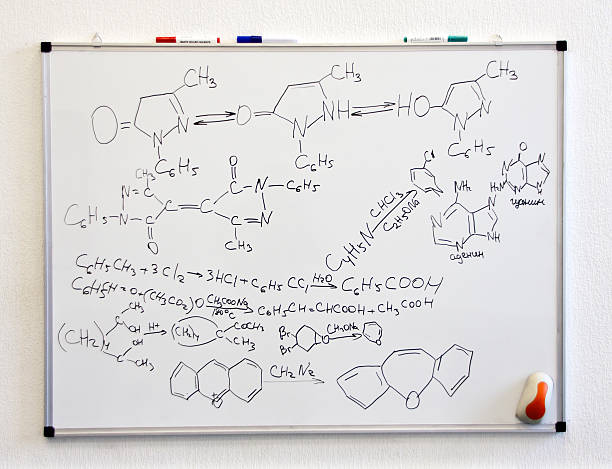 Chemistry science formulas Chemistry science formulas on white board chemistry class stock pictures, royalty-free photos & images