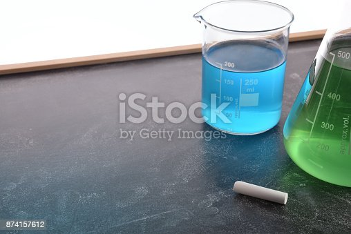 874157676 istock photo Chemistry teaching with blackboard with chemical instruments 874157612