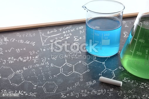 874157676istockphoto Chemistry teaching with drawn blackboard with chemical instruments 874157602
