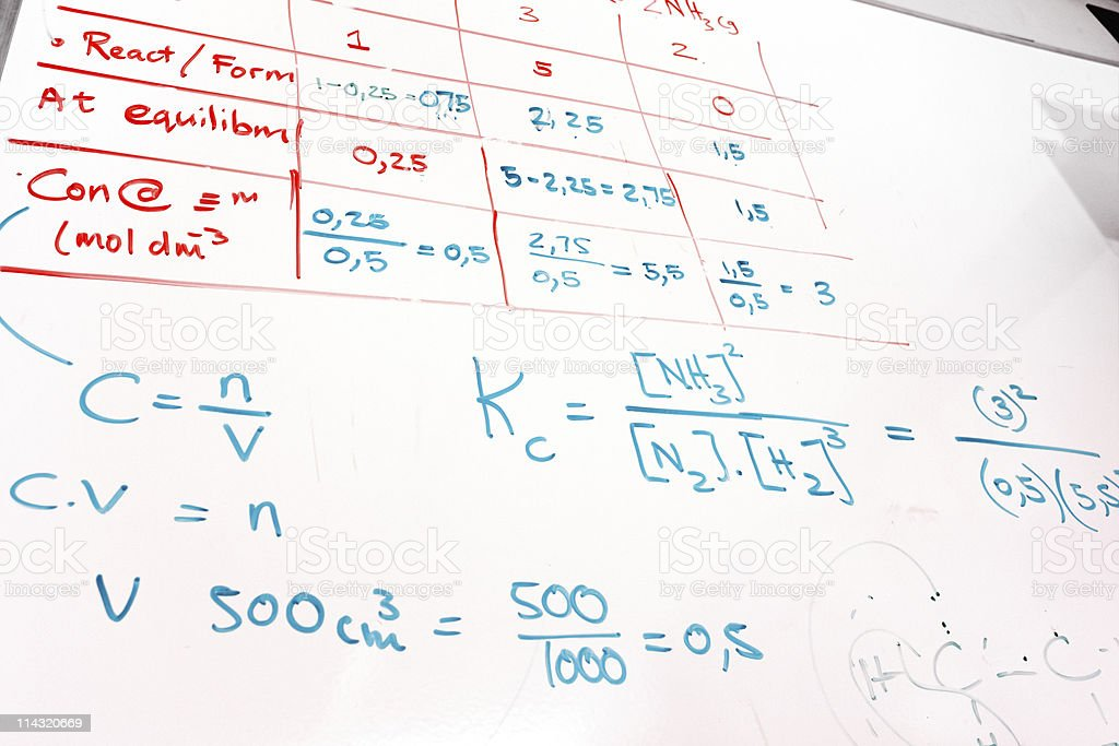 Chemistry whiteboard royalty-free stock photo