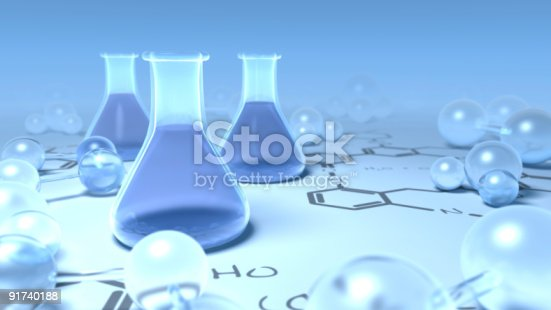 istock Chemisty flasks surrounded with molecules on scientific chart 91740188