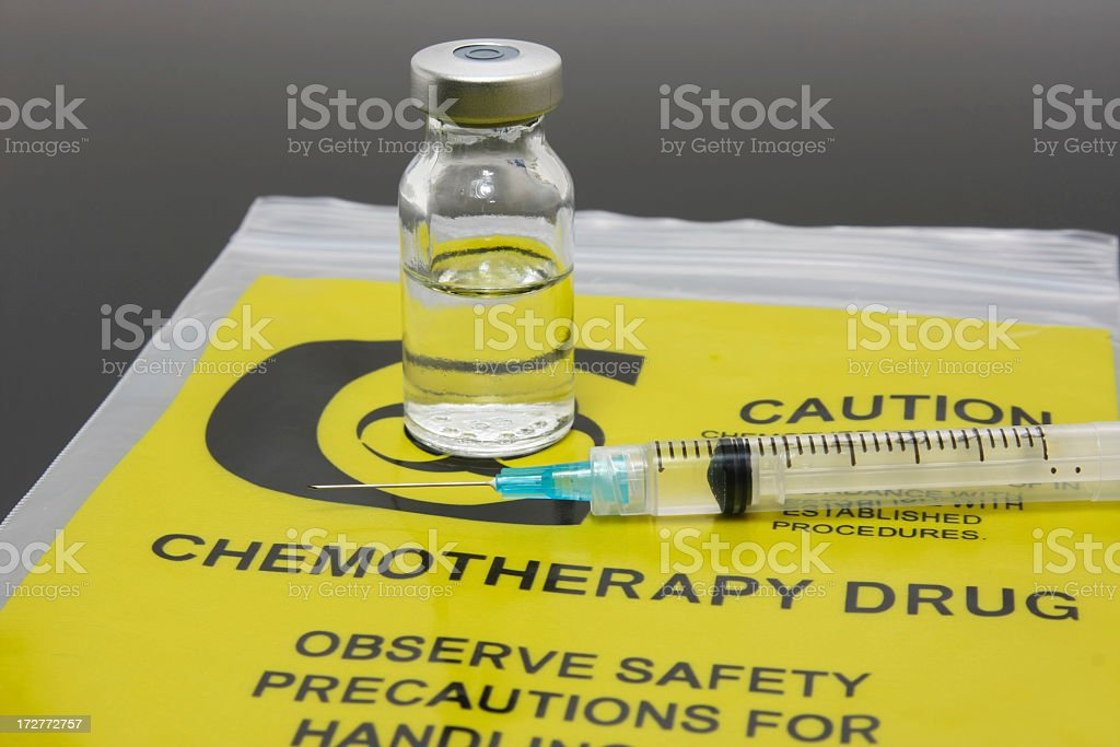Chemotherapy drug vial and syringe set on plastic packaging stock photo
