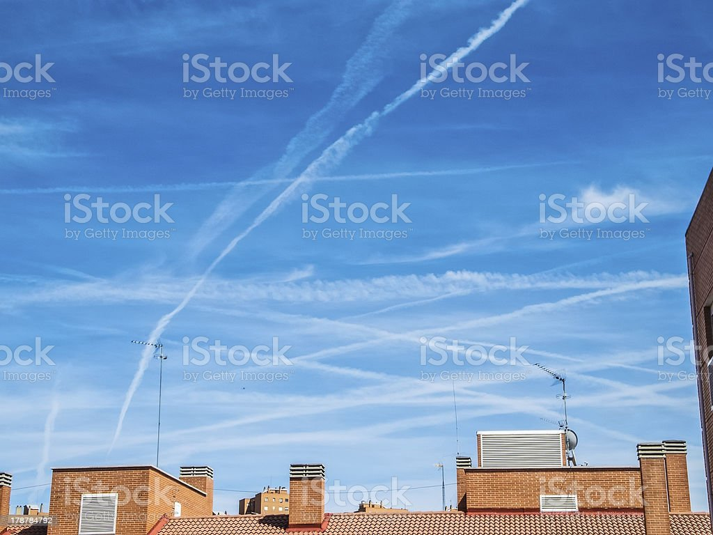 Chemtrails royalty-free stock photo