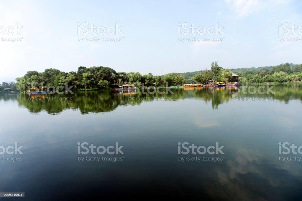Cheng lake in chengde summer resort park stock photo