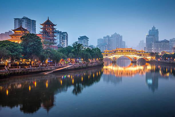 Chengdu, Chine sur la Jin rivière - Photo