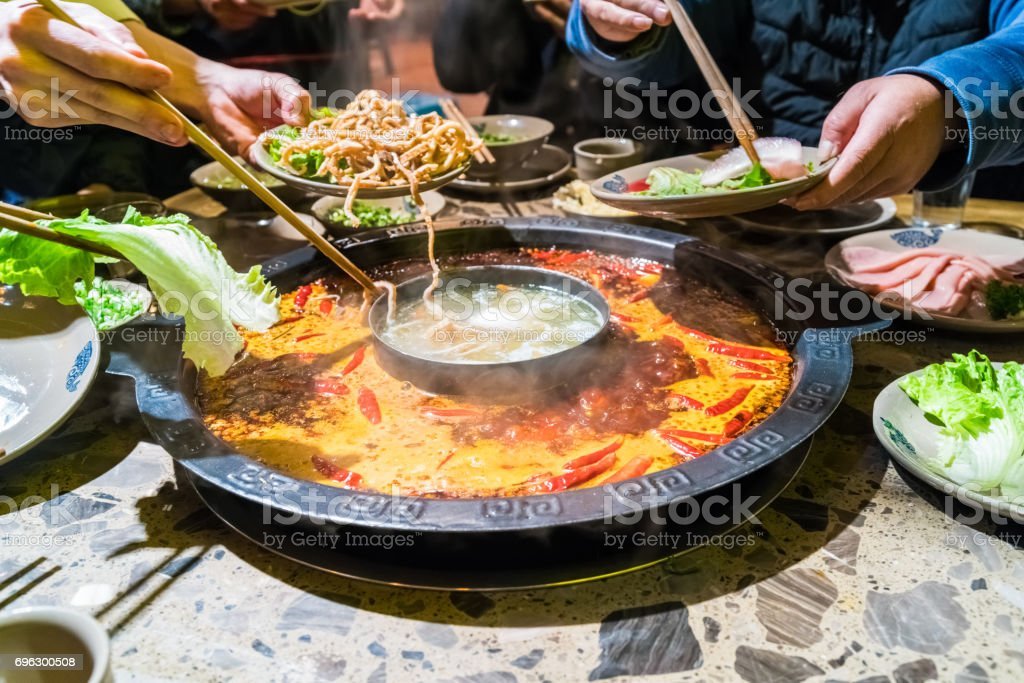 chengdu hot pot, sichuan chafing dish stock photo