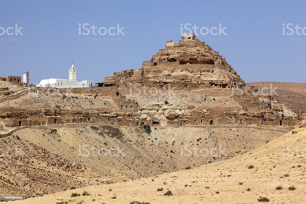 Chenini - ruined Berber village in the Tataouine, Tunisia stock photo