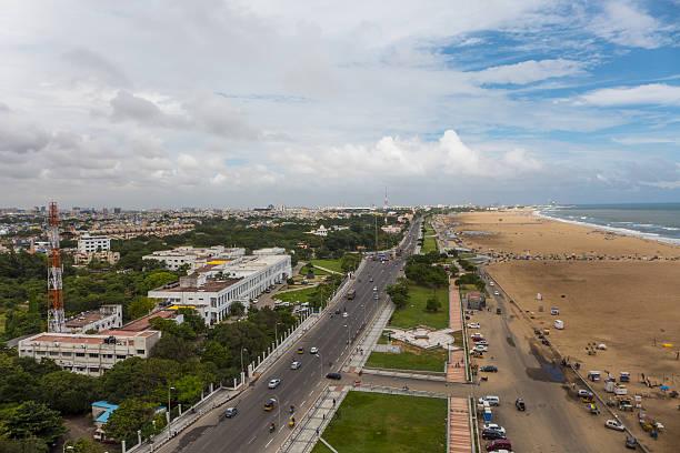 Chennai Aerial View with Marina Beach stock photo