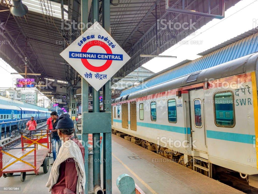 Chennai Central railway station signage, India stock photo