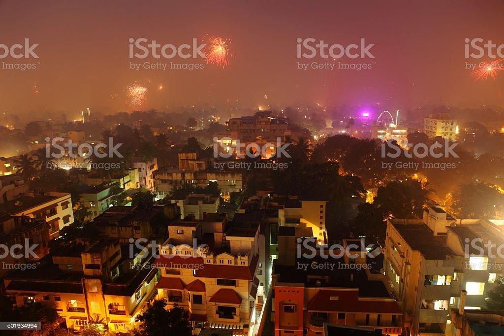 Chennai city at Diwali night stock photo