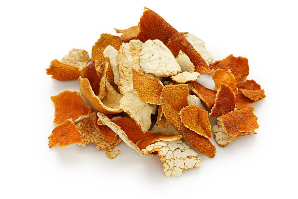 chenpi,dried tangerine peel,traditional chinese herbal medicine - suszony produkt zdjęcia i obrazy z banku zdjęć