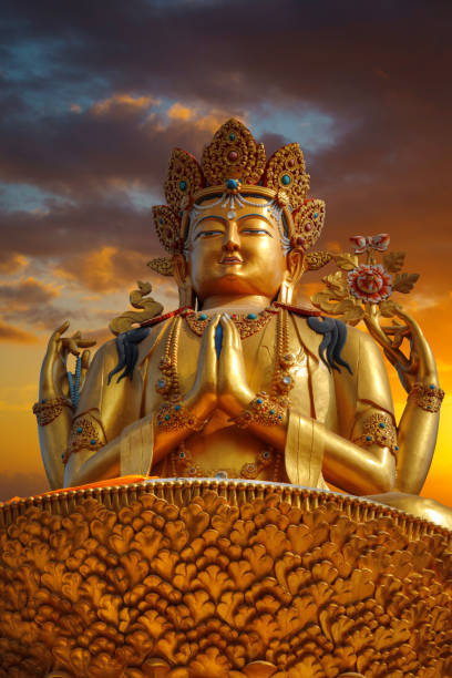 chenrezig golden statue of Chenrezig stands in Kathmandu. Nepal bodhisattva stock pictures, royalty-free photos & images