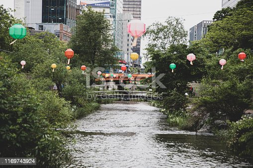Cheonggyecheon Stream in downtown Seoul
