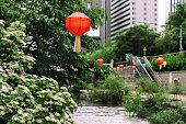 istock Cheonggyecheon Stream in downtown Seoul 1297953127