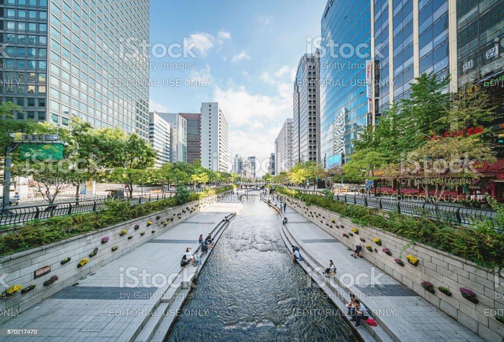 Cheonggyecheon Stream In Seoul City South Korea royalty-free stock photo