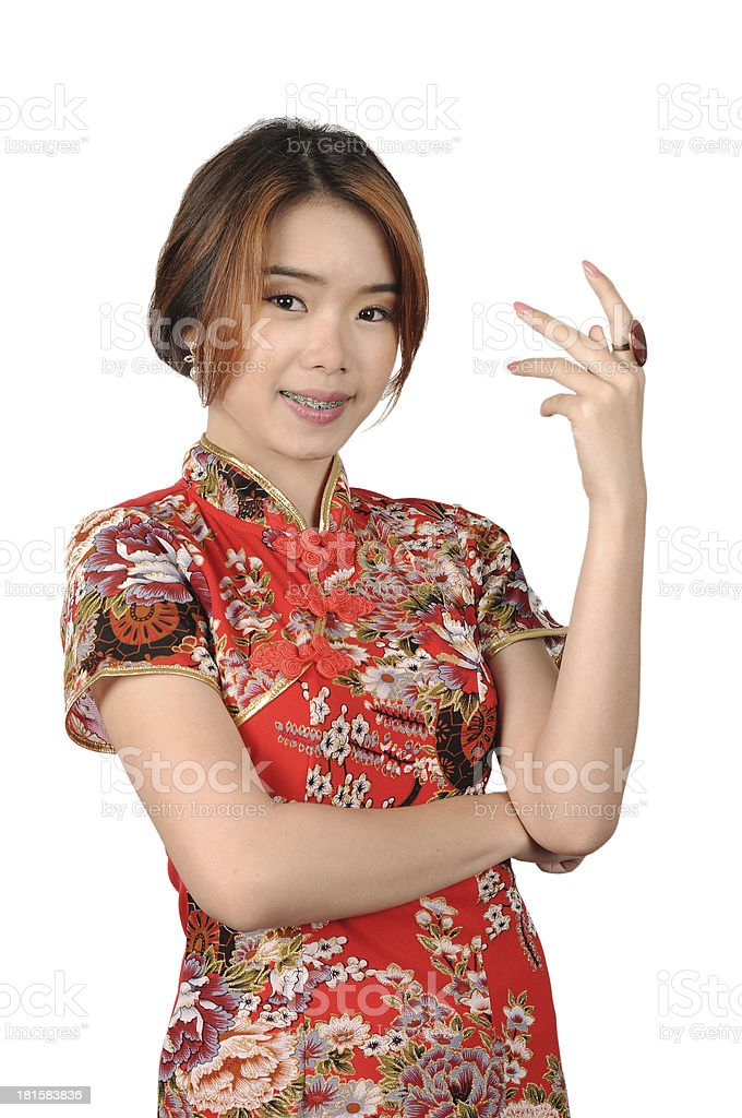 Cheongsam Red, Asian girl, Isolated. royalty-free stock photo
