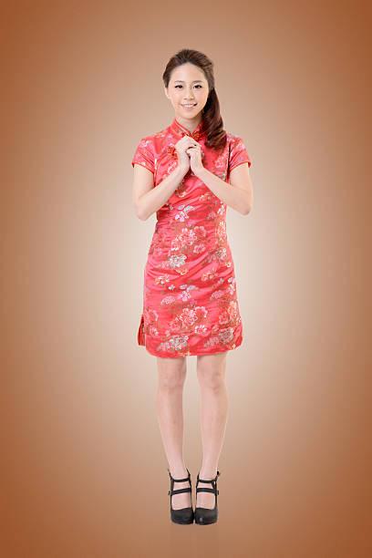 cheongsam woman stock photo