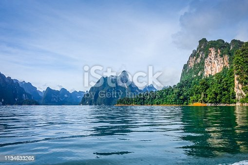 Cheow Lan Lake limestone cliffs, Khao Sok National Park, Thailand