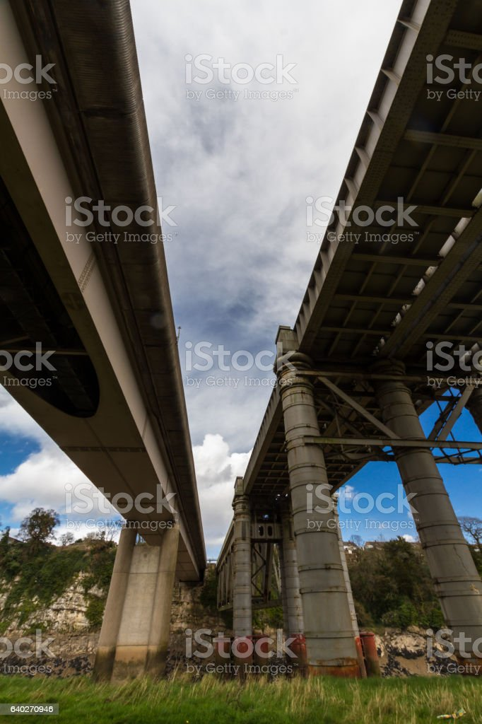 Chepstow Railway Bridge and modern road bridge over River Wye. stock photo