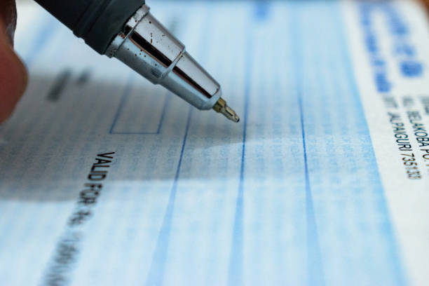 cheque book - guilloche stock photos and pictures