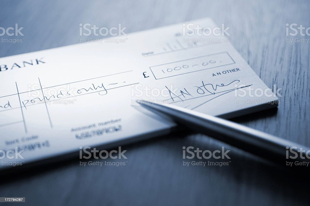 cheque series stock photo