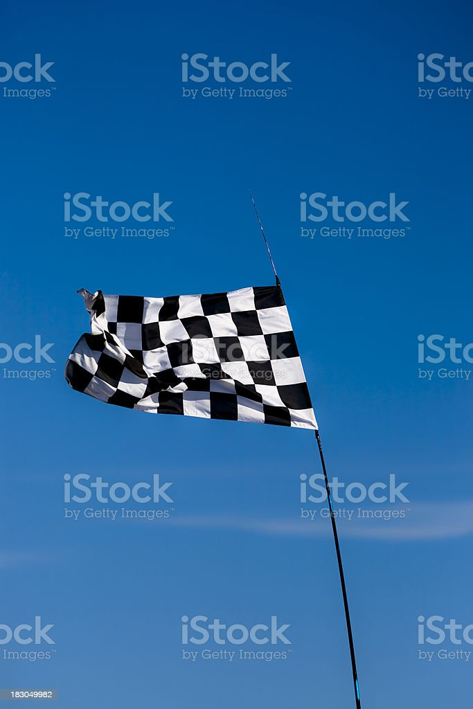 Chequered Checked race flag winning competetion vertical royalty-free stock photo