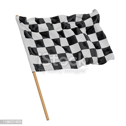 istock Chequered flag, 3D rendering isolated on white background 1156221923