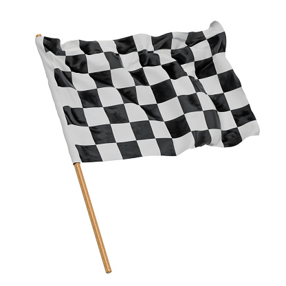 Chequered flag, 3D rendering isolated on white background