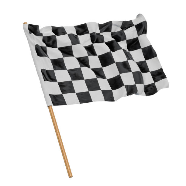 Chequered flag, 3D rendering isolated on white background stock photo