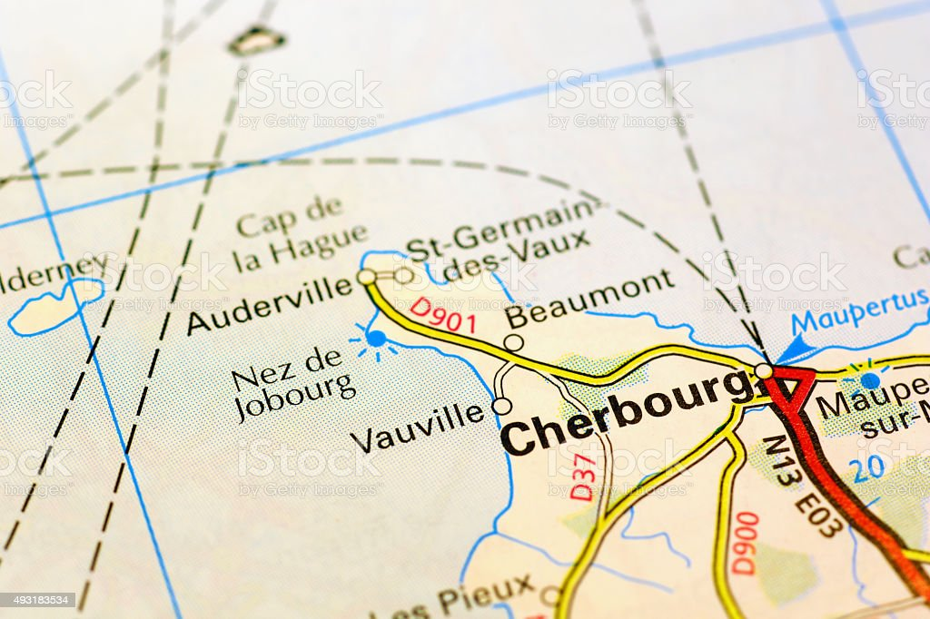 Cherbourg area on a map stock photo