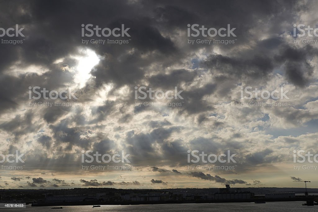 Cherbourg Harbour, France, evening sun stock photo
