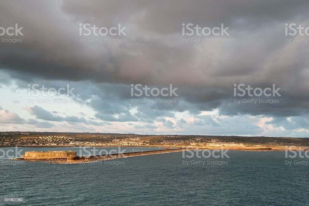 Cherbourg Inner Harbor Fortress and Jetty stock photo