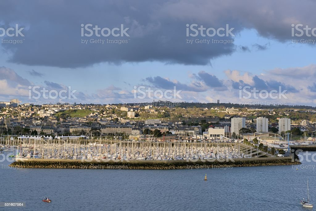 Cherbourg Marina and Town stock photo