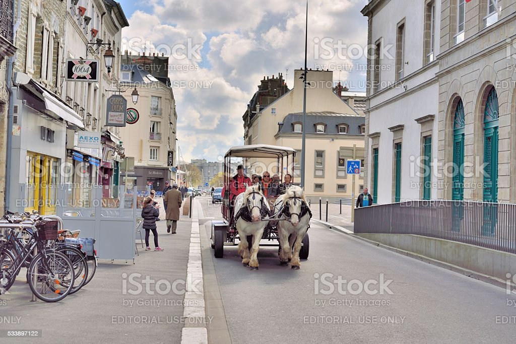 Cherbourg Tourist in Horse Drawn Carriage stock photo