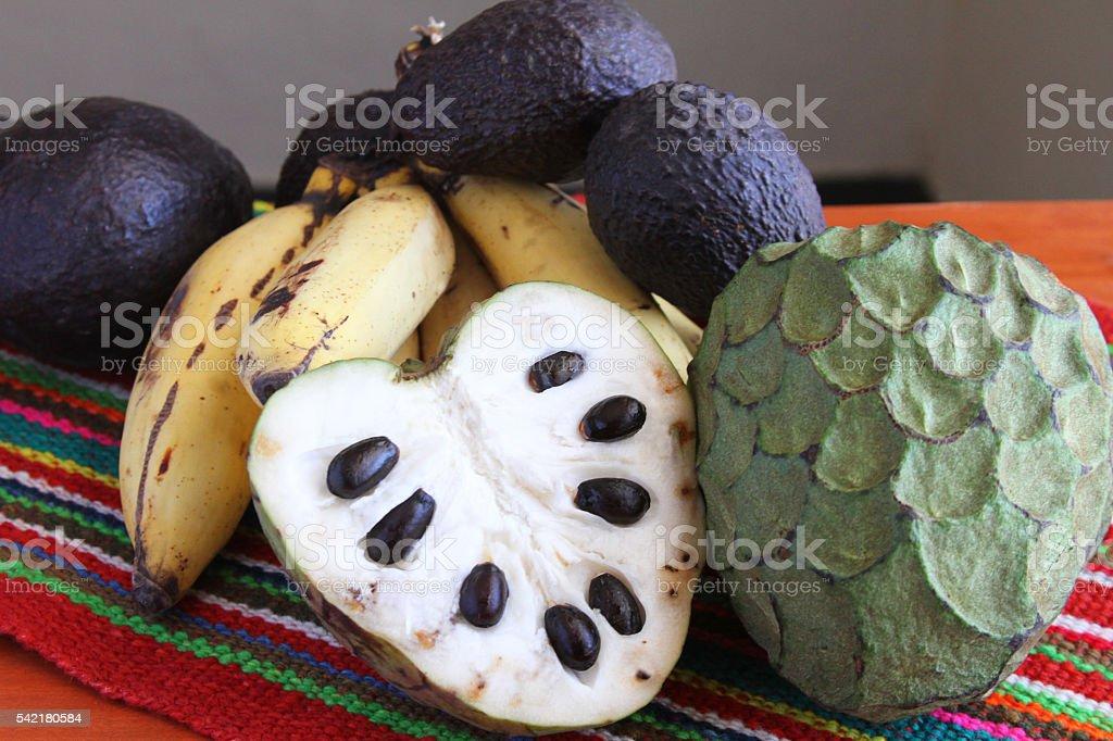 Cherimoya Fruit with Bananas and Avocados stock photo