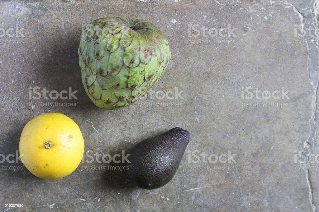 Cherimoya Orange and Avocado stock photo