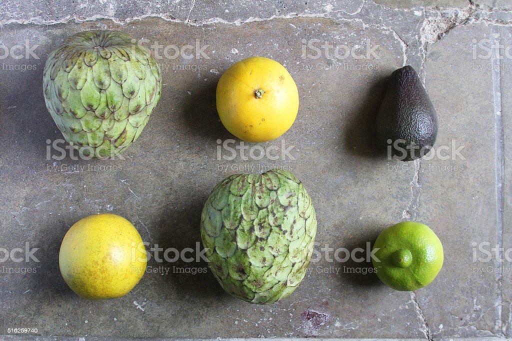 Cherimoya Oranges and Lime stock photo