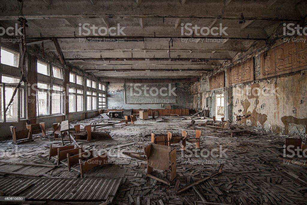 Chernobyl - Abandoned classroom in Pripyat stock photo
