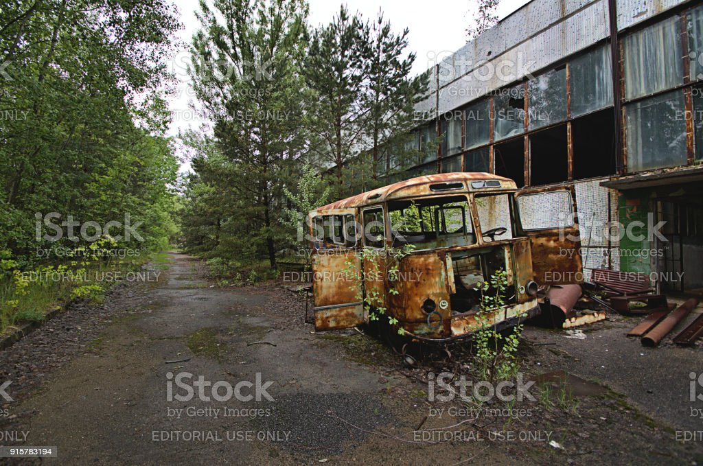 Chernobyl And Pripyat Abandoned Bus Stock Photo - Download