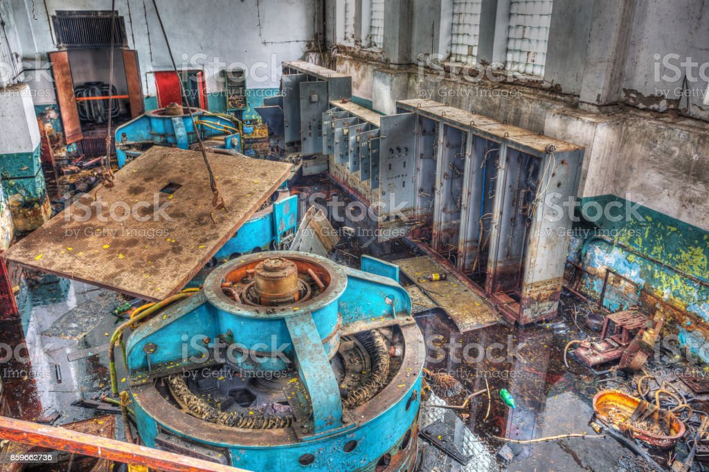Chernobyl disaster, one of the mechanisms of industrial buildings in Pripyat stock photo