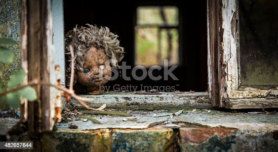 istock Chernobyl - Doll looks out a window 482657644