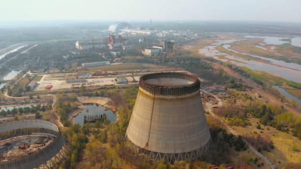 Kernkraftwerk Tschernobyl, Ukrine. Luftbild – Foto
