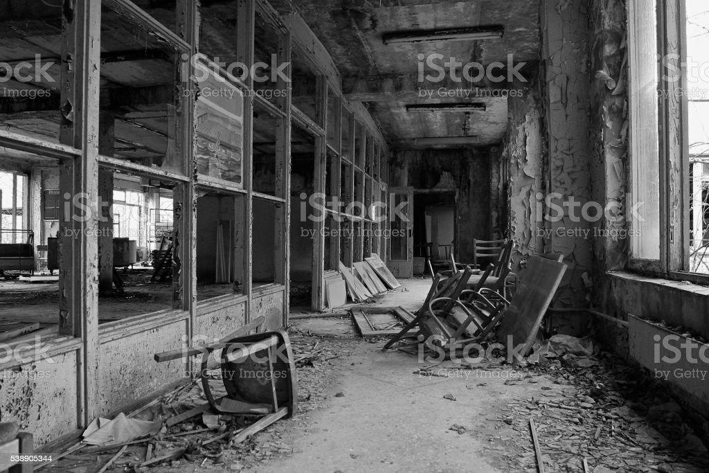 Chernobyl, Pripyat, inside a building stock photo