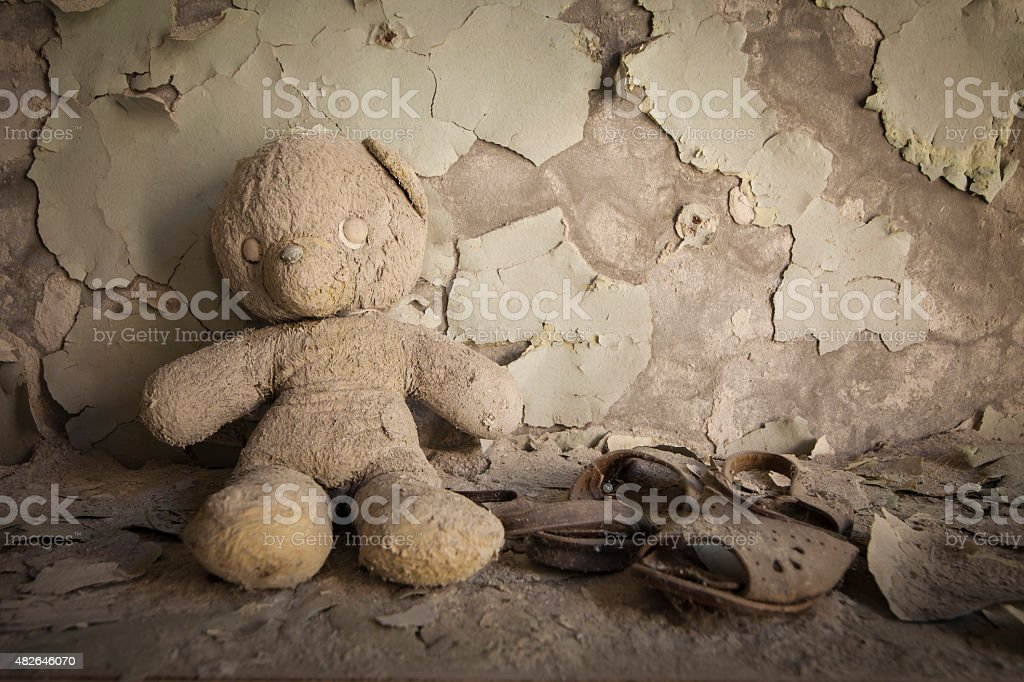 Chernobyl - Teddy bear in abandoned house stock photo