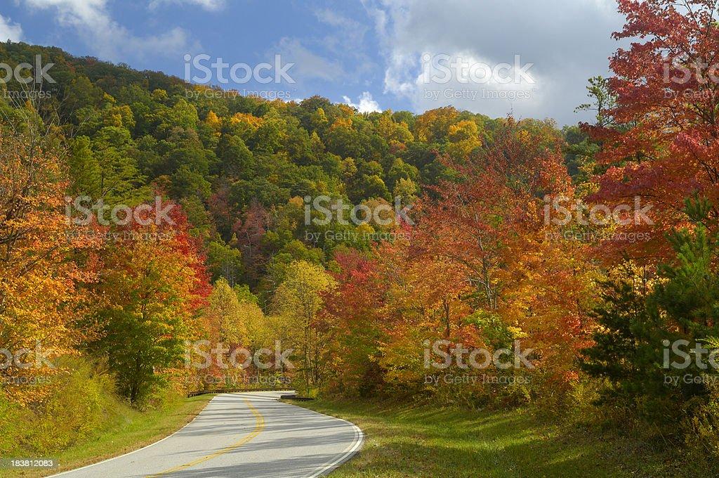 Cherohala Skyway in Late October, NC, USA stock photo