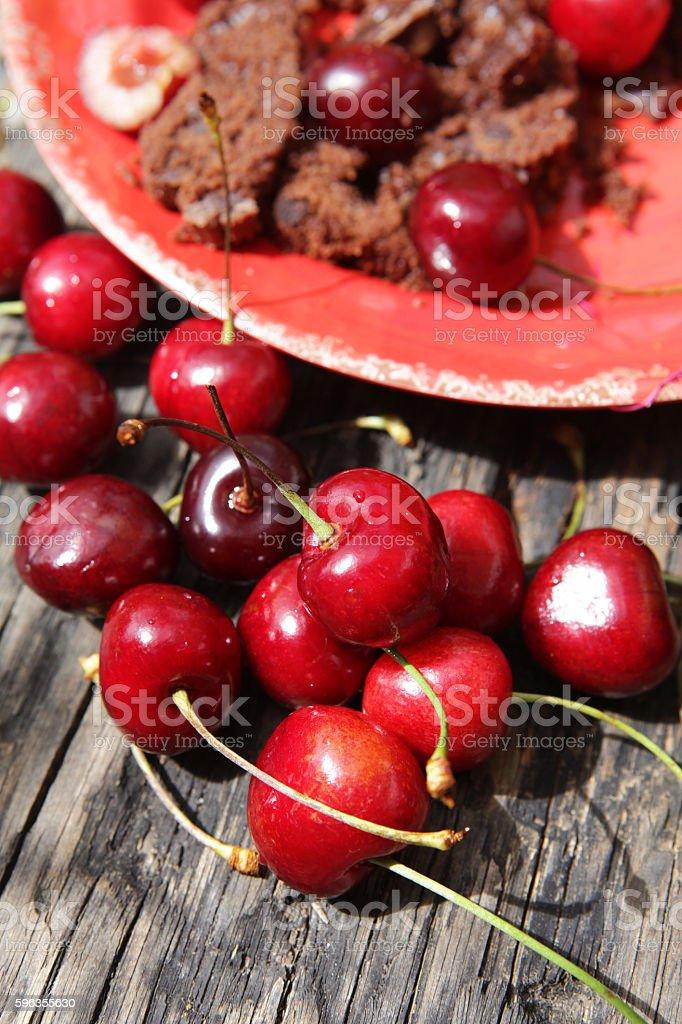 Cherries and chocolate cake royalty-free stock photo