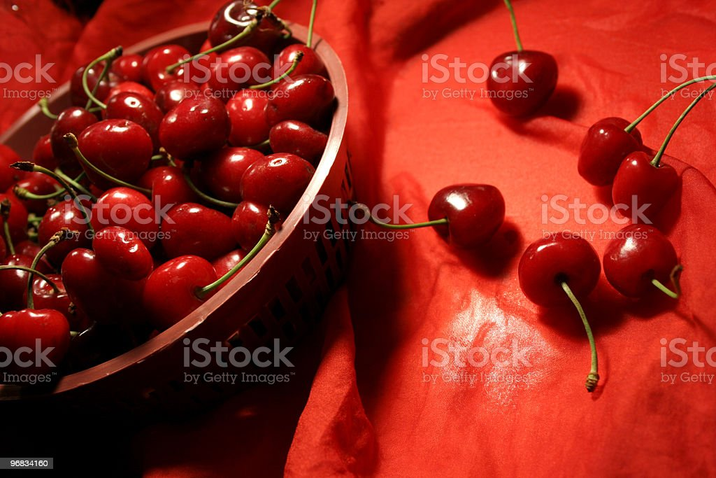 cherries fruits on red royalty-free stock photo