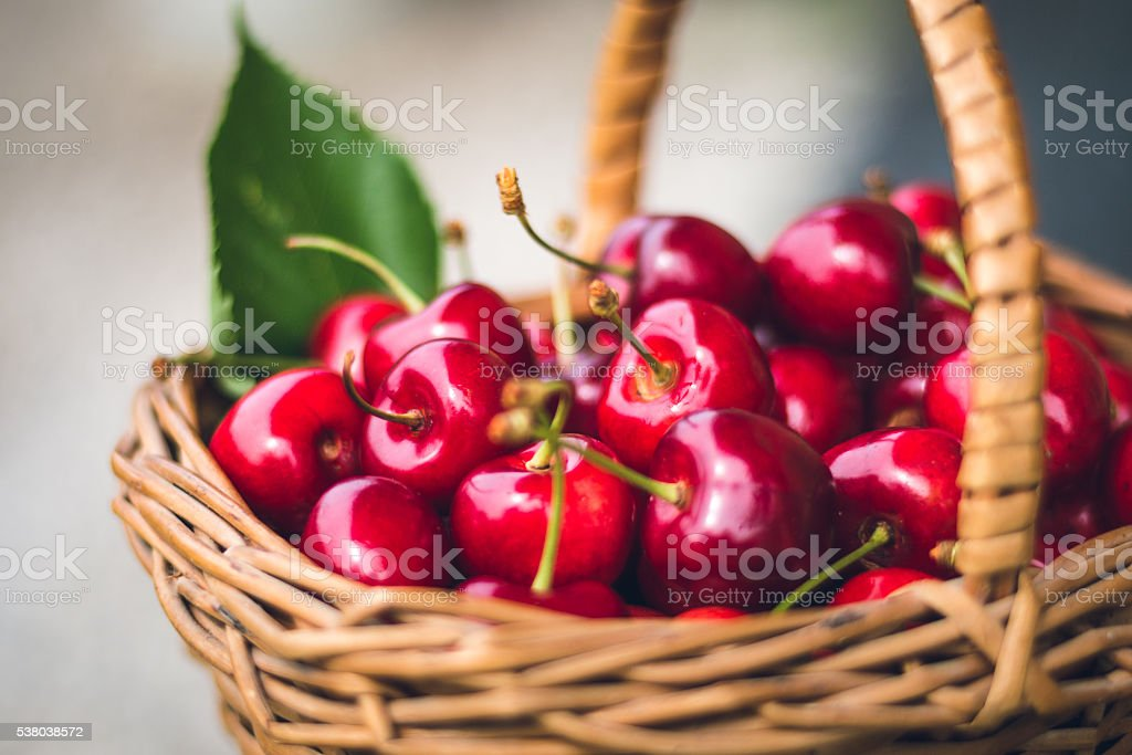 Cherries in a basket royalty-free stock photo