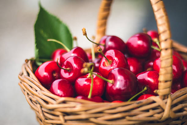 Cherries in a basket stock photo