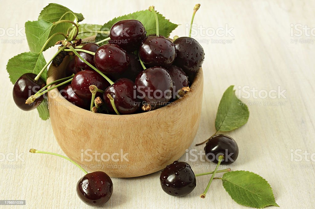 Cherries in a bowl royalty-free stock photo
